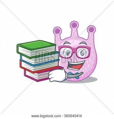 A Diligent Student In Viridans Streptococci Mascot Design Concept With Books