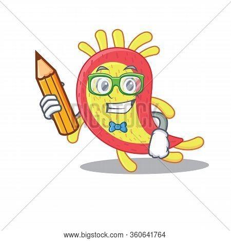 A Brainy Student Azorhizobium Caulinodans Cartoon Character With Pencil And Glasses