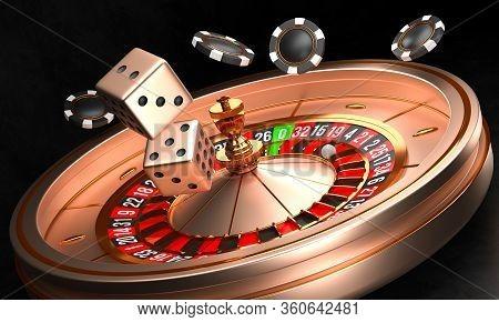 Casino Background. Luxury Casino Roulette Wheel On Black Background. Online Casino Theme. Close-up W