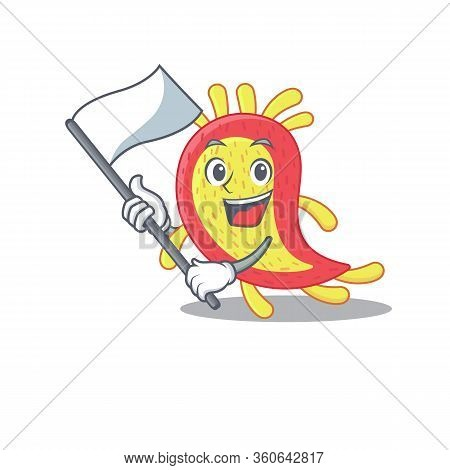A Nationalistic Azorhizobium Caulinodans Mascot Character Design With Flag