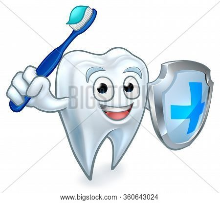 A Cartoon Cute Tooth Dental Dentists Mascot Character Holding A Shield And Toothbrush Like A Sword R