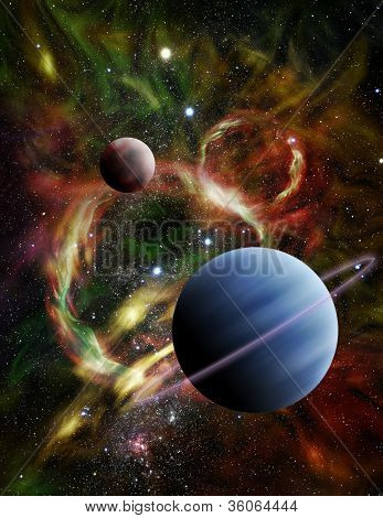 Illustration - A pair of alien planets float among the stars and a fiery nebula in deep space. poster