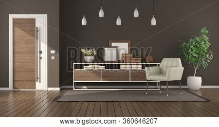 Modern Home Entrance With Armored Door , Sideboard And Armchair - 3d Rendering