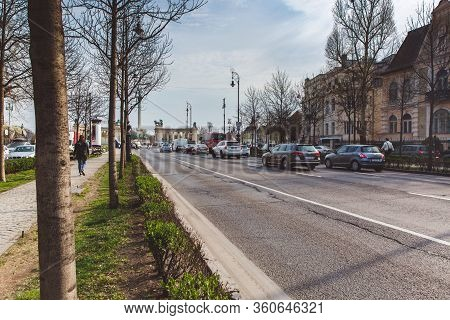 Budapest, Hungary - April 04, 2019: Andrassy Street In Budapest With View To The Heroes Square. Is O