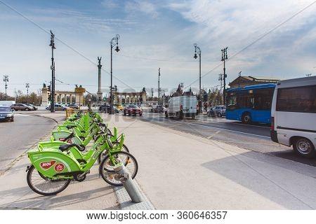 Budapest, Hungary - April 04, 2019: Bubi Mol Rent A Bike Station On Andrassy Street In Budapest, Hun