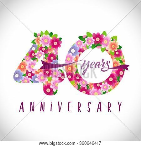 40 Th Anniversary Numbers. 40 Years Old Logotype. Floral Pink Congrats. Isolated Abstract Graphic De