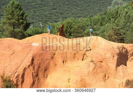 Roussilion,france-august 13,2016:tourists  Visiting The Famous Ocra Color Quarries Near Roussillon I