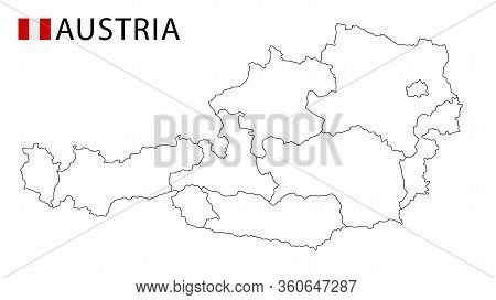 Austria Map, Black And White Detailed Outline Regions Of The Country.