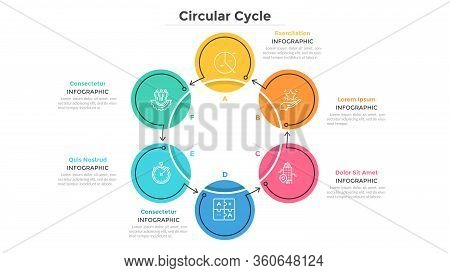 Round Cyclical Chart With 6 Colorful Circular Elements Connected By Arrows. Business Cycle With Six