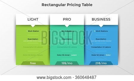 Rectangular Pricing Tables With List Of Included Options Or Features. Light, Pro And Business Subscr