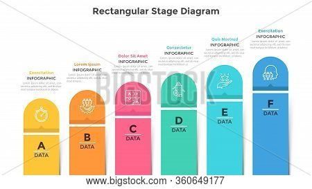 Bar Chart With 6 Colorful Columns. Ascending Trend With Six Stages, Business Development And Growth