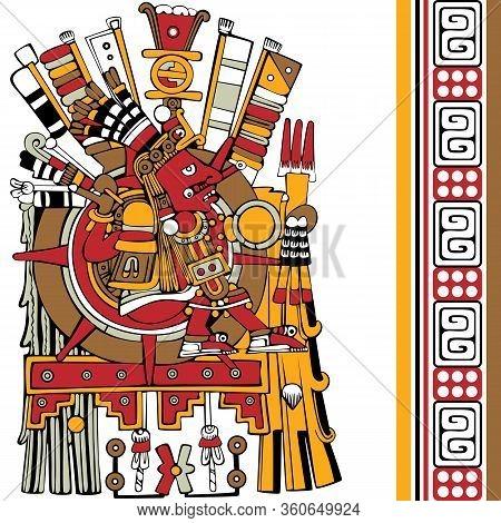 Vector Of Aztec God. Ancient Mesoamerican Ornament