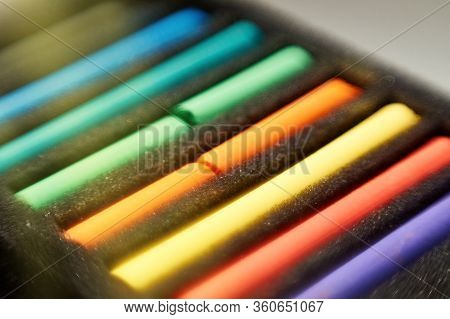 Drawing With Pastels. Multi-colored Pastel Pieces In A Package