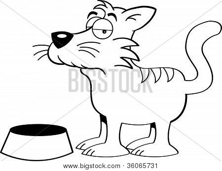 Black and white illustration of a cat with a food dish poster