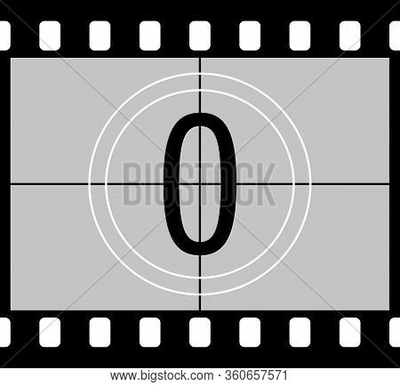Movie Countdown. Retro Style Television Screen In The Frame Of A Film With A Number. Frame From The