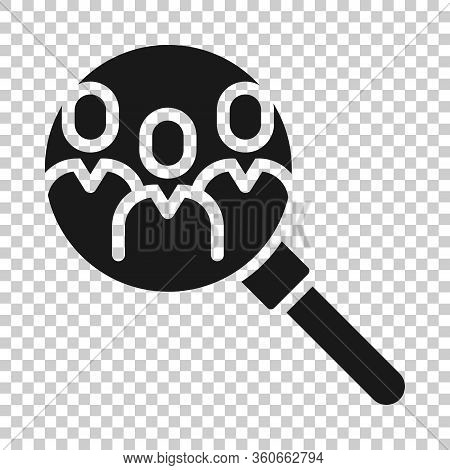 Search Job Vacancy Icon In Flat Style. Loupe Career Vector Illustration On White Isolated Background