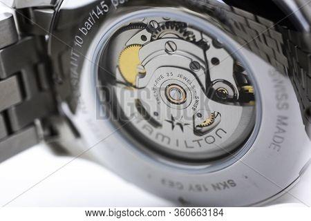 Biel, Switzerland 31.03.2020 - The Close Up Of Hamilton Man Watch Stainless Steel Case Back Case Sta