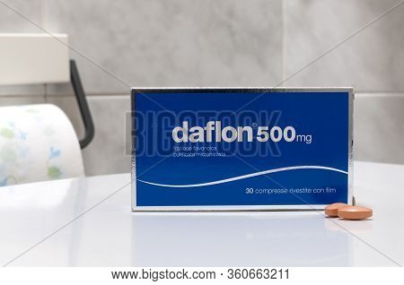 Carrara, Italy - April 11, 2020 - Box Of Daflon Coated Tablets, A Medicine Used To Treat Hemorrhoids