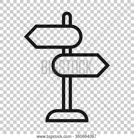 Crossroad Signpost Icon In Flat Style. Road Direction Vector Illustration On White Isolated Backgrou