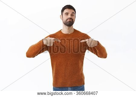 Portrait Of Professional, Boastful Confident Bearded Guy Pointing At Himself, Show-off His Big Ego,