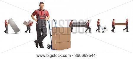 Male worker with boxes on a hand-truck and other carrying furniture isolated on white background