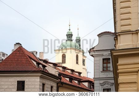 Typical Narrow Street Of Stare Mesto In The Historical Center Of Prague, Czech Republic, With A Focu
