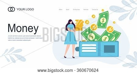 Landing Page Girl Girl Holds Coins. Savings And Investing Money. Finance, Investment. Woman Take Mon