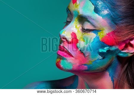 Multicolored Skin, Difficult To Identify. Creative Makeup And Drawing On The Face. Modern Fashion Lo