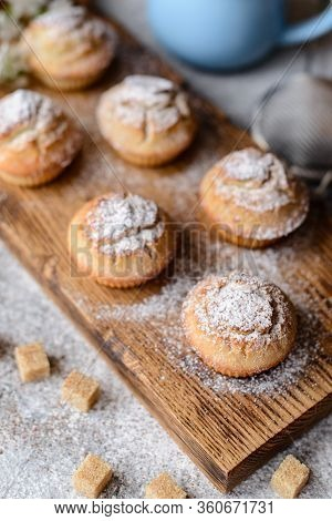 Fresh Baked Cupcakes Of Rice Flour With Banana And Vanilla With A Mug Of Hot Chocolate. Delicious In