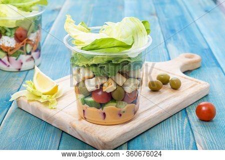 Mixed Vegetable Salads On Blue Wood Board - Mixed Gourmet Food , Mixed Healthy Food - Chicken Salad
