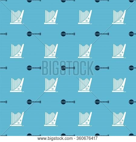 Set Banjo And Harp On Seamless Pattern. Vector