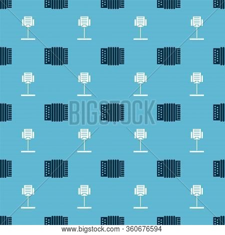 Set Musical Instrument Accordion And Music Stand On Seamless Pattern. Vector