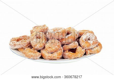Delicious Ring Doughnut On A Plate Isolated On White Background