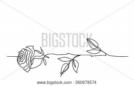 Rose Flower Minimalistic Tatoo Design. One Continuous Line Drawing. Simple, Minimalist Black And Whi