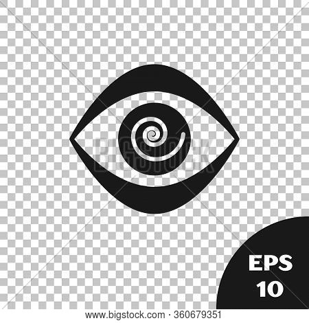 Black Hypnosis Icon Isolated On Transparent Background. Human Eye With Spiral Hypnotic Iris. Vector