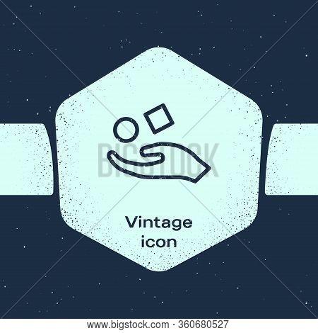 Grunge Line Cube Levitating Above Hand Icon Isolated On Blue Background. Levitation Symbol. Monochro