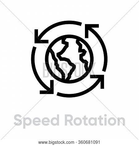 Speed Globe Rotation Flat Icon. Editable Line Vector.
