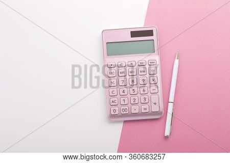 Pink Calculator With Pen Background