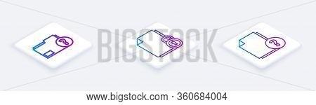 Set Isometric Line Unknown Document Folder, Document And Lock And Unknown Document. White Square But