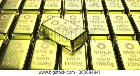 Gold Bars Background, Closeup View. 3D Illustration