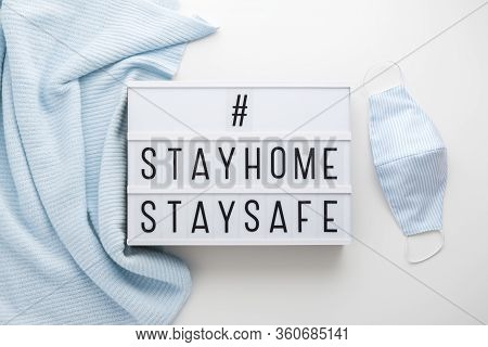 Stay Home Stay Safe Word On Light Box Protection From Coronavirus