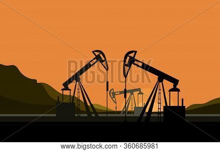 Vector Silhouettes Of Mining Mechanisms On A Sunset Background. Oil Field Development