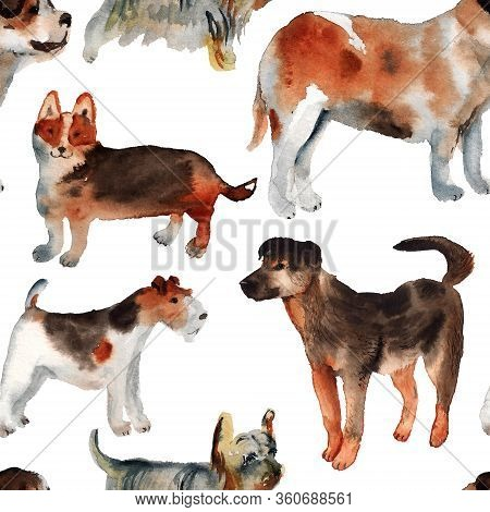 Colorful Dog Seamless Watercolour Pattern With White Background. Cute Cartoon Puppy Character.
