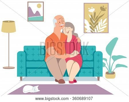 Flat Design Illustration With Elderly Couple Sitting On Their Sofa At Home.