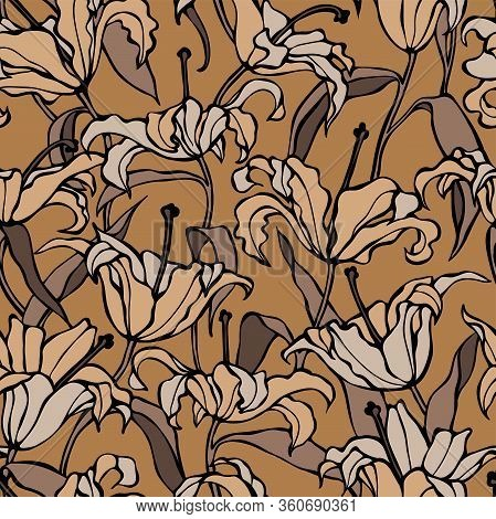 Lilly Brown Seamless Pattern Flowers And Leaves