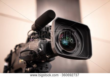 Television Camera Lens, Film Of Video Movie Recording Films Shooting Of Grand Opening In Conference