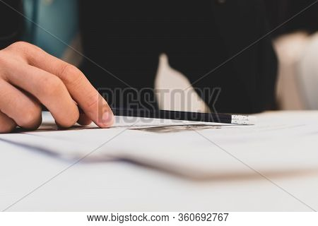 Business Man Manager Holding Pencil For Checking And Signing Applicant Filling Documents Reports Pap