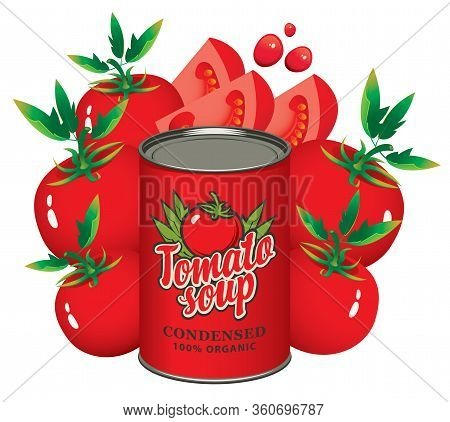 Advertising Banner For Condensed Tomato Soup. Vector Illustration With A Tin Can And Ripe Red Tomato