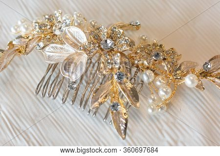 One Bridal Pearl And Crystal Blooming Floral Comb Hair Piece Jewelry