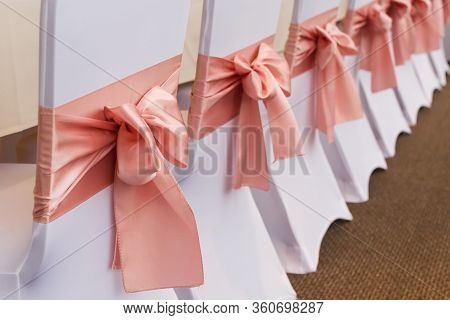 Pink Silk Satin Chair Sashes Bow Sash For Wedding And Events